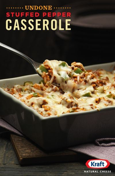 Yep, we've all been a little undone by the �€œWhat's for dinner tonight?�€ riddle. But now you can be done done with the Undone Stuffed Pepper Casserole. Ground beef, garlic, green pepper topped off with the just-right meltine...