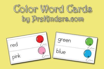 Here is a new set I have created to add to the Picture-Word Cards collection. This Color Word Card set includes red, pink, orange, yellow, green, blue, purple,