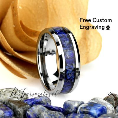 8mm Chunky Lantural Lapis Lazuli Inlay Tungsten Wedding Band Men & Women, Black Ceramic Wedding Band For Men For Women, Lapis Lazuli Ring $120.00