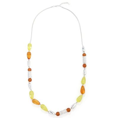 Beads Necklace - Yellow/Orange   Necklace with lobster clasp and chain extender.