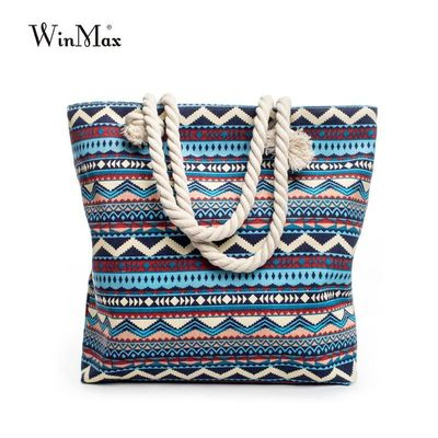 2017 New Summer Women Canvas bohemian style striped Shoulder Beach Bag Female Casual Tote Shopping Big Bag floral Messenger Bags $20.83