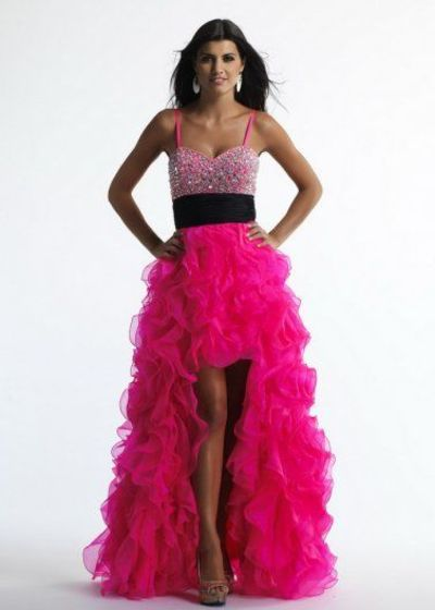 Beaded Top Hot Pink Spaghetti Strap Ruffled High Low Organza Cocktail Dress
