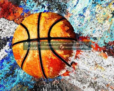 A colorful basketball art print by takumipark. The basketball artwork is a photo print and comes in different sizes. #urbanart #streetart #basketballart #homedecor