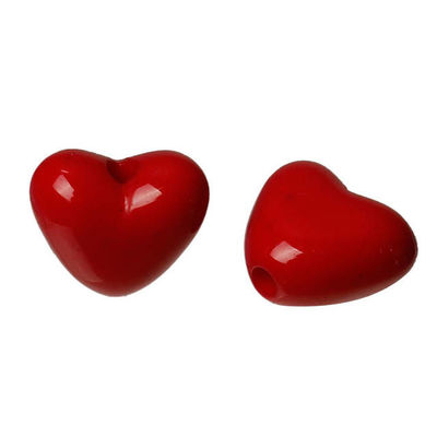 Pack of 200 Acrylic Red Love Heart Beads. Romantic Jewellery Making. 11mm x 10mm. £6.39