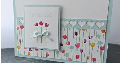 Stampin' Up! Painted Blooms - Gorgeous Designer Paper and matching stamp set make this lovely spring card. #stampinup #handmade #spring Order online at www.stampindelight.stampinup.net