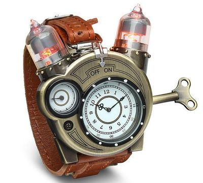 Calling all steampunk adventurers, pirates, scientists and Victorian ladies. Your outrageously large vacuum-tube-decorated wrist watch has arrived.