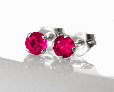 Ruby Stud Earrings 4mm in 14K Yellow or White Gold Earrings Wedding Jewelry Anniversary Gift $148.35