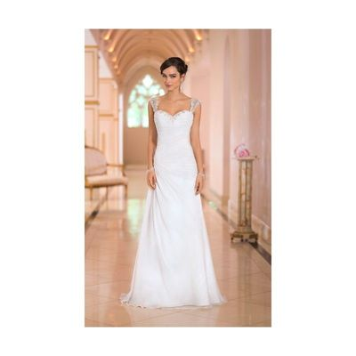 Simple Sheath/Column Spaghetti Straps Beading Ruching Sweep/Brush Train Chiffon Wedding Dresses - Dressesular.com