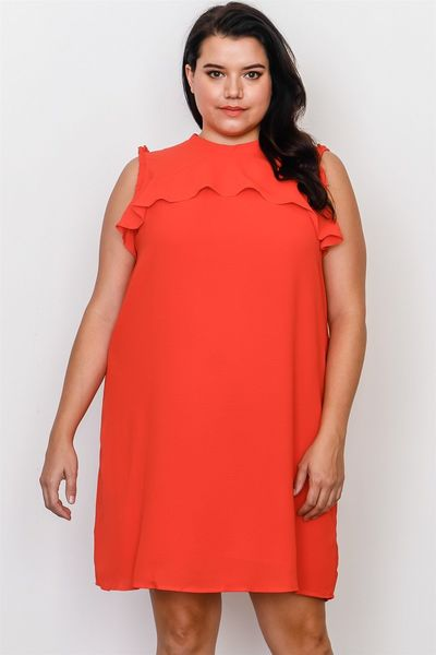 20% discount with BESTDEAL at checkout! Plus Size Ruffle Tie Back Dress $24.00