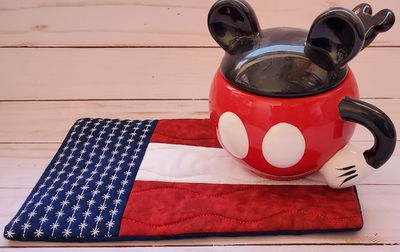 Flag Mug Rug/coaster/snack mat/fabric coaster/trivet/large size $10.00