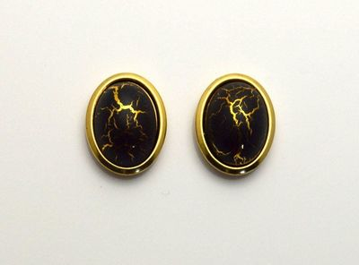 18 x 22 mm Black With Gold Matrix Oval Magnetic Non Pierced Clip Earrings $50.00 Designed by LauraWilson.com