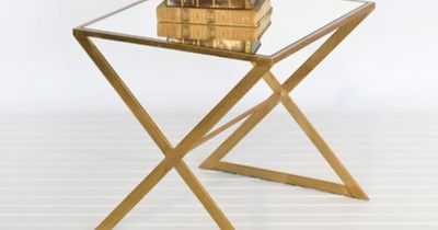 X gold side table from Worlds Away