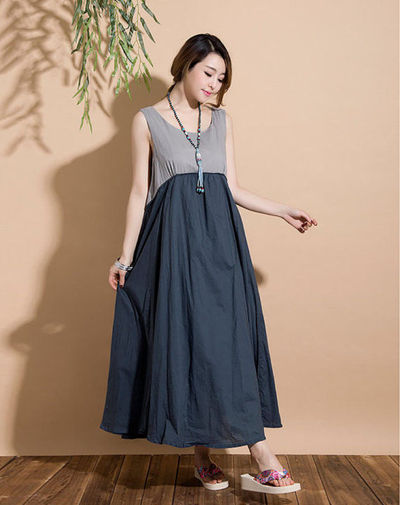 Dark blue stitching sleeveless vest casual Maxi Dress