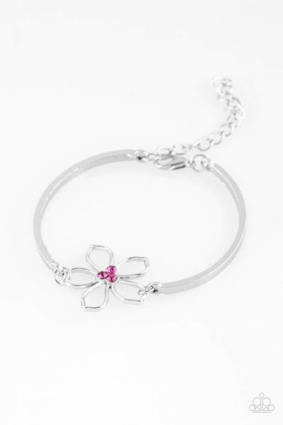 Paparazzi Hibiscus Hipster - Pink Rhinestone Airy Silver Floral Frame Bracelet $5.00