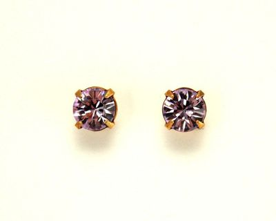 7 mm Violet Swarovski Crystal Magnetic Earrings $26.00 Designed by LauraWilson.com