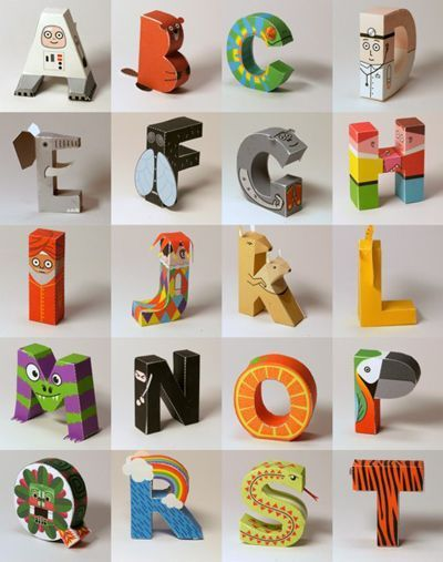 Digitprop has posted a clever papertoy alphabet you can download, print, trim and fold. Each of the 26 characters is a person, animal, or object whose name starts with that letter. Fun for kids to play with or personalize their own rooms. Found via How Ab...