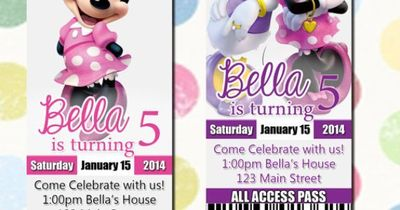 Minnie Mouse Birthday Party Invitation Ticket Style You Print Digital File Daisy Duck Invites