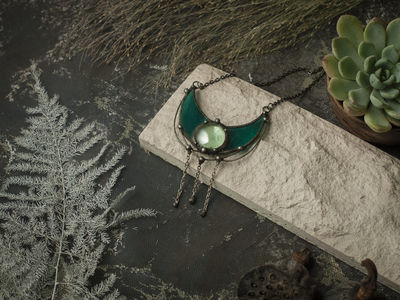 Green Pendant - Crescent Moon Mirror - Stain Glass Moon Necklace, Boho Accessory, green glass necklace, lunar necklace, Moon Jewelry $31.00