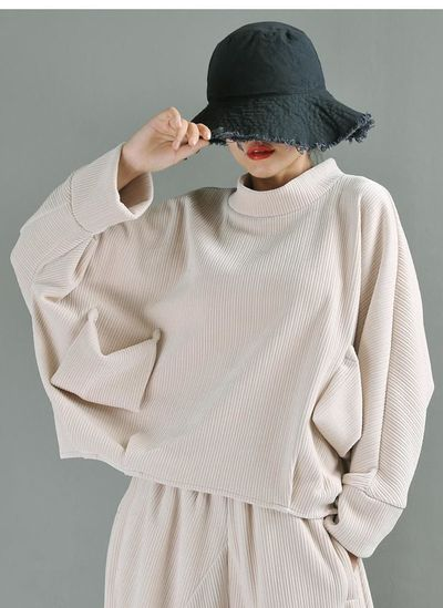 Clothes for women plus size, women tops, women tops blouses, coats for women vintage, Long Sleeve Loose Knit Sweater Pullovers - apricot