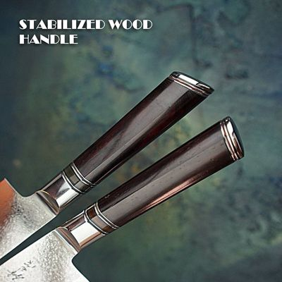 Chef Knife vg10 Laminated Damascus Steel Wooden Handle Handmade Leather Scabbard $199.00
