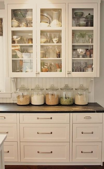 glass cabinets, kitchen cabinets and glass doors.