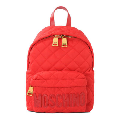 MOSCHINO LOGO QUILTED BACKPACK RED
