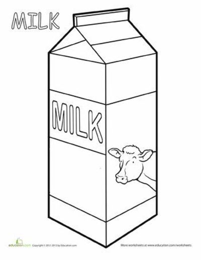 worksheets  milk coloring page    preschool items