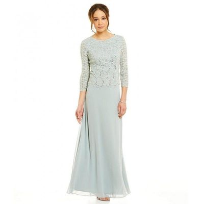 Alex Evenings - 112318 Lace Bateau Chiffon A-line Dress - Designer Party Dress & Formal Gown