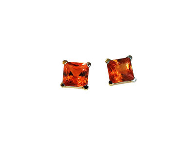 Square Orange Studs Princess Stud Earrings Girls Sapphire Earrings 14K Gold Studs Minimalist Earrings Earrings $343.85