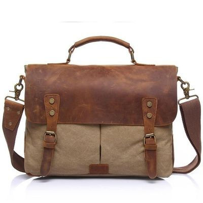 Vintage Canvas Handbags Men Shoulder Bag Crazy Horse Leather Casual Crossbody Bag Men's Travel Bags Laptop Briefcase Bag Totes