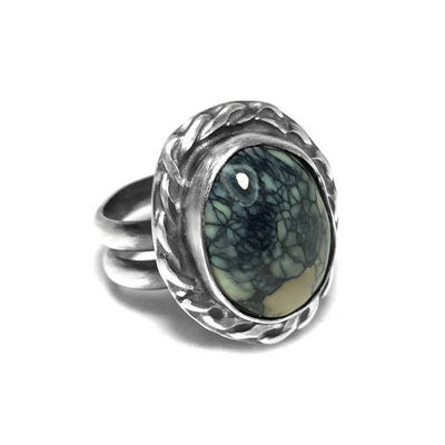 Size 9 Natural Silver Peak Variscite and Sterling Silver Ring $39.99
