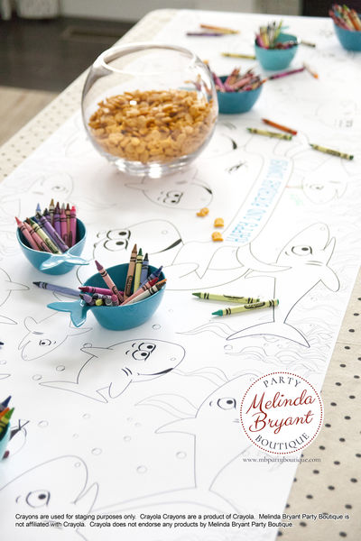 Shark Birthday Decor Coloring Page Table Runner Pirate First Birthday Decorations Wedding Kids Craft Children's Party Games Activities $25.88