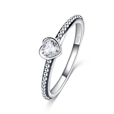 925 Sterling Silver Love Heart Romantic Ring $33.19