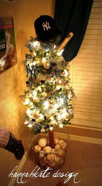 baseball themed christmas tree with hat topper basket of baseballs for base cannot