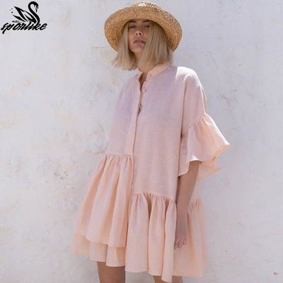 Women Swimsuit Cover Ups Mandarin Sleeve Kaftan Beach Tunic Dress Robe De Plage Solid White Cotton Pareo Beach Cover Up $26.92