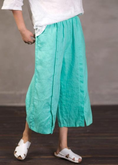 Women's Palazzo Pants, Linen cropped pants, Wide leg pants, Trousers in Pink, Pants for Women, linen wide leg pants