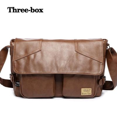 three-box Brand Solid Men Leather Handbag Vintage Men Shoulder Bags Fashion Crossbody Travel Bag Casual Men Messenger Bags 1345