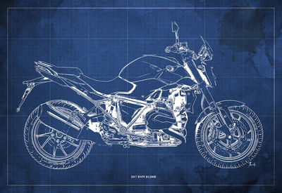 2017 BMW R1200R Blueprint,Art Print 14x9.60 to 60x41in,Bike Art print,gift for husband,garage decor,office decoration,man cave decor $35.00