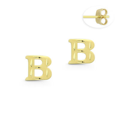 """Initial Letter """"B"""" Stud Earrings with Push-Back Posts in 14k Yellow Gold - BD-ES051B-14Y"""