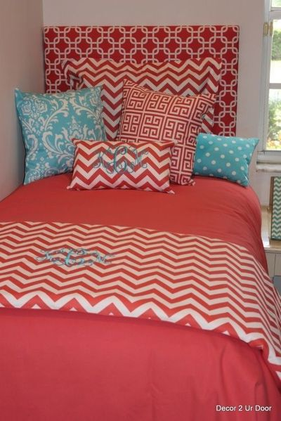 blue and coral bedding - Google Search