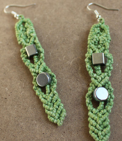Handmade Green Waxed Cord and Silver Beads Macrame Drop Earrings £6.59