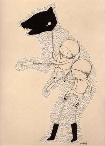 bear in socks and gloves ink and pencil on paper 23 x 50 cm