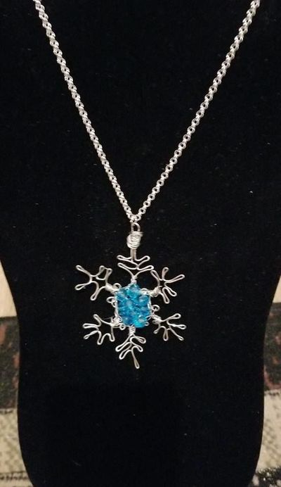 Silver Necklace with Blue Crystal and Silver Snowflake Pendant $5.00