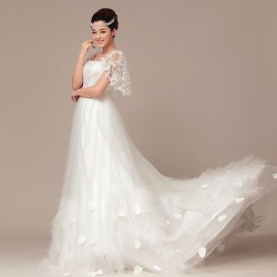 Elegant Short Sleeve with Natural waist wedding dress
