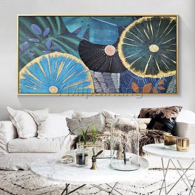 Abstract art blue painting Original Acrylic gold art flower painting on canvas art wall Picture for living room home Decor caudro abstracto $139.00