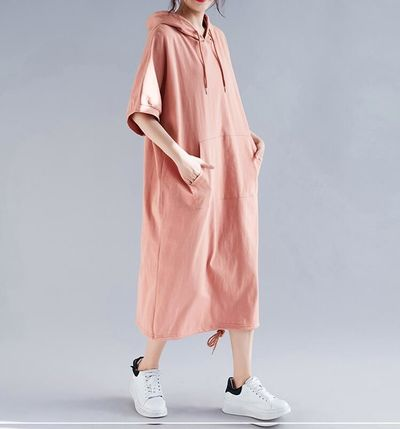 WOMEN DRESS SUMMER COTTON HOODED LADY VESTIDOS FEMALE CLOTHING CASUAL LOOSE BIG SIZE PLUS SIZE LONG DRESS SOLID 5XL 6XL