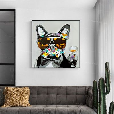 Puppy Paintings On Canvas dog animal painting abstract palette knife texture blue grey acrylic original large wall art framed painting $93.75