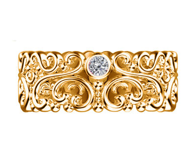 Filigree Wedding band Leaf Flower Band ring Edwardian Ring Yellow Gold Floral Band 3 Top Quality Diamonds 7mm width Eternity Ring $950.00