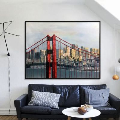 Golden Gate Bridge Skyline Acrylic painting on canvas Hand painted heavy texture wall decor living room home art quadros caudros abstractos $149.00