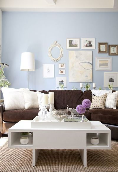 Love this room!! Love how the dark brown couch seems to 'ground' everything and keep the room from looking too 'dreamy', KWIM?! Lots of good stuff pulling together here!!